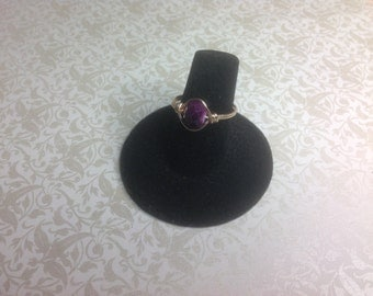 Purple faceted wire wrapped ring