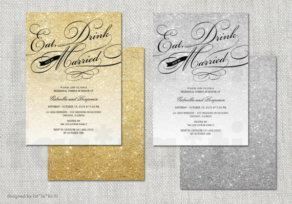 Eat Drink Be Married Glitter Sparkles Rehearsal Dinner Printable Invitation | Custom Elegant Wedding Party Invite | PRINTED CARD / jpg / pdf