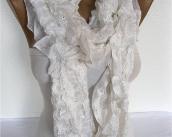 White Scarf, Trend Scarf- Fashion Scarf-  Shawls-Scarves-gift Ideas For Her Women's Scarves-christmas gift-Fashion accessories