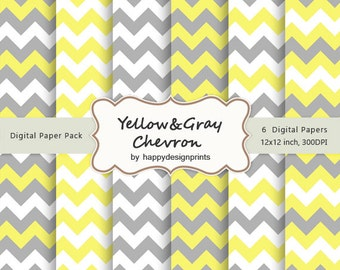 "Yellow Gray Chevron Pattern Wallpaper Digital Paper Pack of 6, 300 dpi, 12""x12"" Instant Download Scrapbooking JPG"