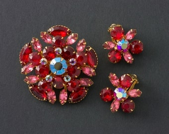 Vintage Beaujewels Rhinestone Brooch and Earrings Demi Parure Reduced from 45.99!