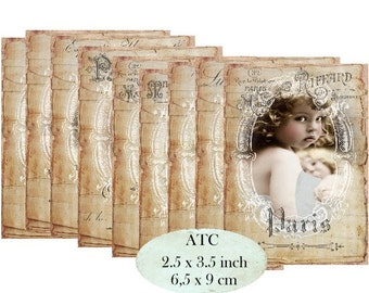 French Photos Labels ATC Instant Download digital collage sheet S112 shabby vintage girls ladies children