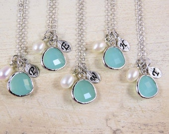 Mint bridesmaid necklace, customized bridesmaid gift, personalized bridesmaid necklace, initial necklace,  personalized whimsies
