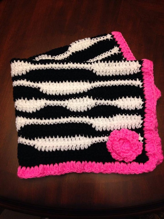 Crochet Zebra Blanket : Items similar to Crochet Zebra Baby Blanket on Etsy