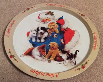 REDUCED Vintage Giordano GIFTCO 1991 Christmas Santa and Pets Serving Tray