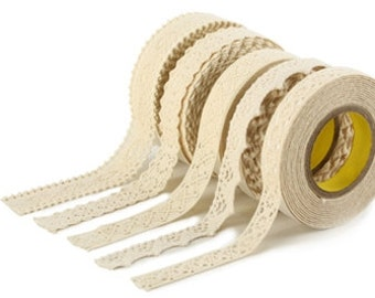 Cotton Lace Adhesive Tape [ Beige ] // 5 Types