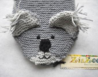 Scarf neck warmer koala, handmade wwol