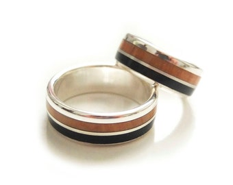 Wood Wedding Bands Ebony Wood Rings, Juniper Wood and Silver Sterling Rings / wood wedding band