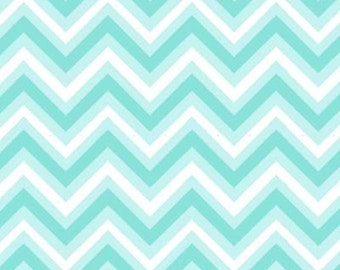 Anything Goes Basics Aqua Chevron by Henry Glass 1/2 Yard 100% Designer Cotton Designed by Barbara Jones 6117-11
