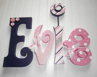 Nursery letters, Nursery wall hanging letters, pink, purple, white, nursery decor, hanging nursery letters