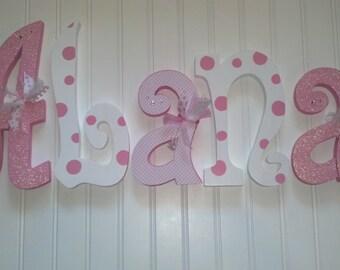 Hanging nursery letters, nursery letters, baby girl nursery letters, pink & white nursery decor, nursery wall letters