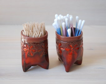 Ceramic Toothpick Holder , Q-tip holder , orange , Bathroom decor .