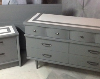 Sold Dresser MCM   Gray Full Bed MCM   Bedroom Set Full Bed     priced seperate