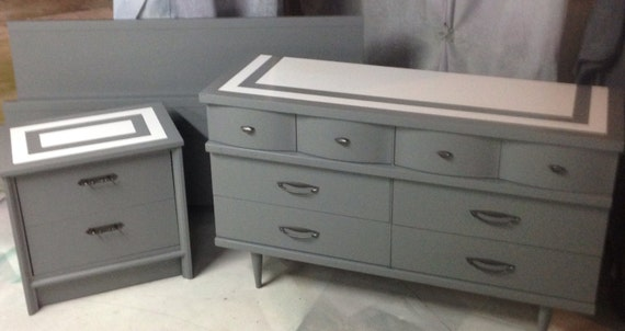 Sold Dresser MCM Gray Full Bed MCM Bedroom Set Full Bed