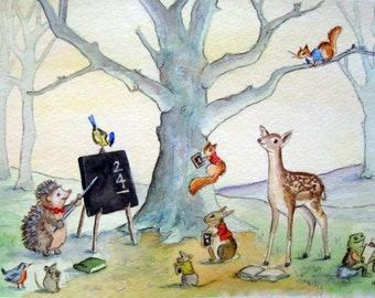 Woodland Animal School, Watercolor, Giclee print, Children's Art, Nursery Decor, Teacher Gift