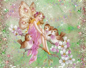 Fairy with birds collage
