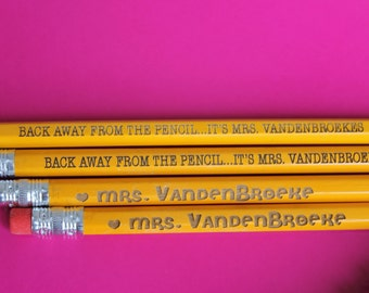 Set of 12 Teacher Pencils - Personalized Pencils, Custom Pencils, Engraved Pencils, Personalized Pencils for Kids, Cute girly pencils --6054