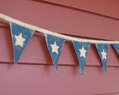 Prim hand painted star banner - 46 inches long