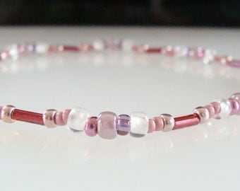 Stretchy Anklet, Pink, White, Beaded