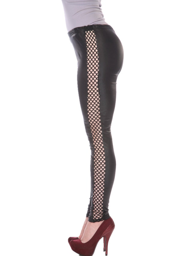 Shosho Black Faux Leather Leggings With Fish Net Cut on the Sides at Sears.com