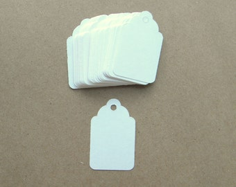 "Small White Hang Tags 1 1/2 "" x 15/16""  Jewelry Price Tags, Scalloped Favor Tags, Price Tags, Mini Tags, Weddings Gift Tag, Number 4 Tag,"
