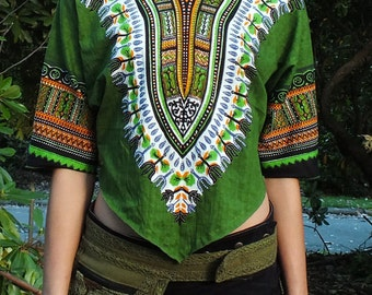Tribal Pattern Pointy Cropped Top (Green) - Pointy Boho Cropped Top Festival Party Goa Fairy Psychedelic