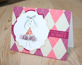 Customizeable personalized thank you card note card set with your child's artwork