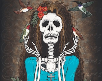 """16x20 Day of the Dead Giclee print, """"Contentment"""""""