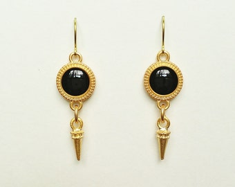 Black Earrings, Black Dangle Earrings, Black and Gold Resin Disc Earrings  with Gold Spike Charms, Resin Jewelry, Hypoallergenic, For Her