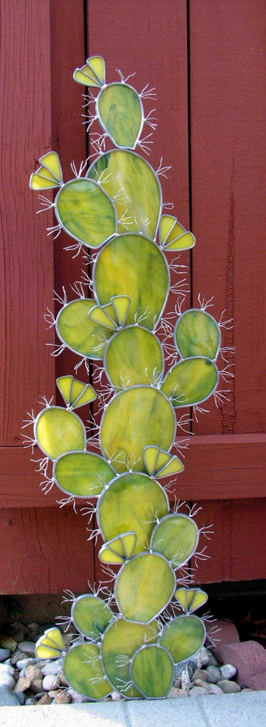 Prickly pear cactus in stained glass yard art home decor Pear home decor