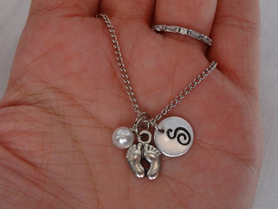 Baby Boy Gifts Jewelry : Items similar to baby feet pearl initial necklace boy
