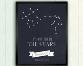 Couples Astrology Print,Personalized Print,Printable Wall Art,Couples Gift,Astrology Art,Special Dates,Constellation Print