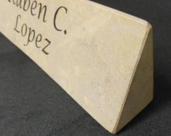 Desk Nameplate Shelf Decor Engraved Front and Back Natural Stone
