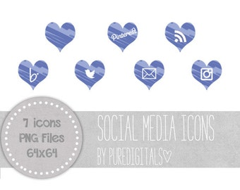 Blue Social Media Icons, Hearts Social Media Buttons, Cute Social Media Buttons, Blue Blog Buttons, Website Icons