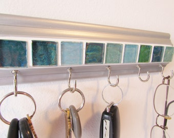 "Wall rack for keys & other necessities The colors of sea glass tile design 9 "" long on silver w/ 5 hooks key rack . Glasses,leash,key holder"