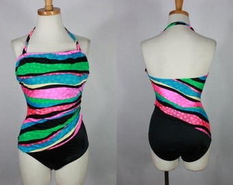 Vintage 80's 90's Neon Swim body Bating Spandex Suit