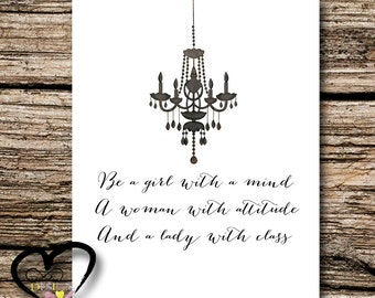 Be A Girl with a Mind, A Woman With Attitude, and A Lady With Class, Nursery Art Print, Girls Childrens Room