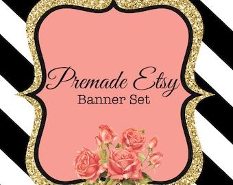 Premade Etsy Banner Set , Gold, Glitter, Black and White, Striped, Flower, Modern