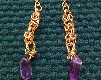 byzantium: chainmaille dangle earrings - in brass featuring hand-wrapped amethyst drops