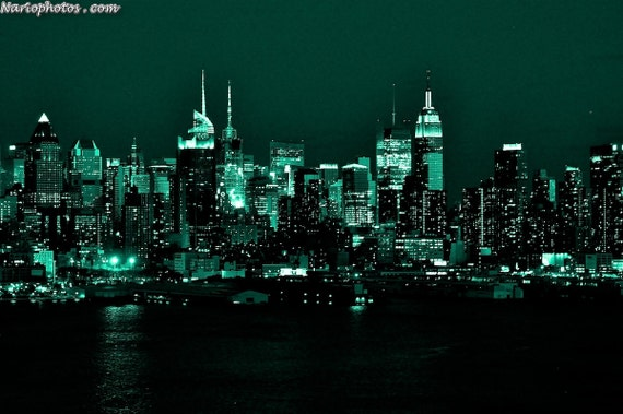 Items similar to emerald city new york city skyline at for Emerald city wall mural