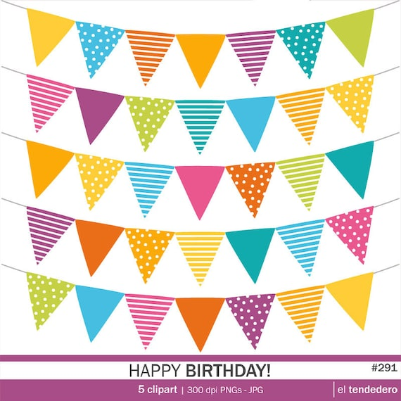 Bunting Banner Clipart Pack Happy Birthday With By Eltendedero