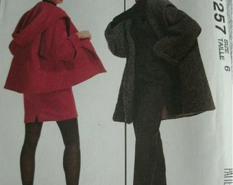 Misses Lined Coat, Jacket, Skirt and Pants Size 6 McCalls Lida Baday Designs Pattern 6257 NEW UNCUT 1992