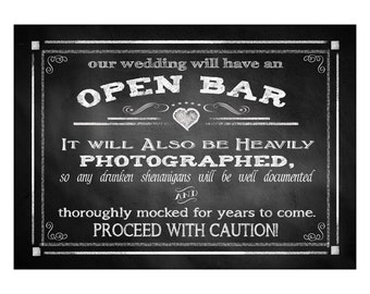 Open Bar Printable Wedding Sign - DIY Digital Instant Download - 4 sizes Drunken sheningans wedding sign Rustic Heart Chalkboard Collection