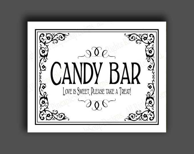Printable Wedding CANDY BAR sign - 5x7, 8x10 or 11 x 14 - instant download digital file - DIY - Black Tie Collection