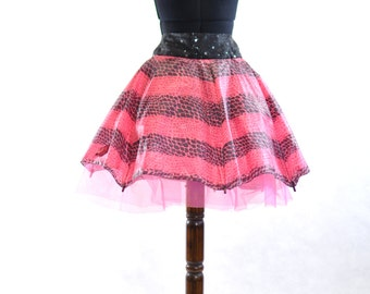Pink Leopard Print Umbrella Skirt