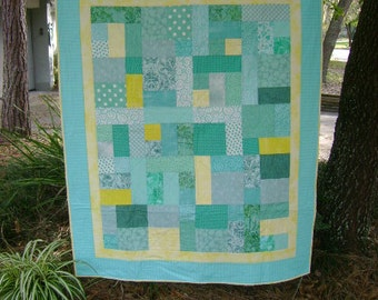 Turquoise and Yellow Quilt