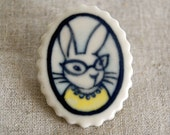 rabbit brooch - girl bunny in yellow - hand-painted clay
