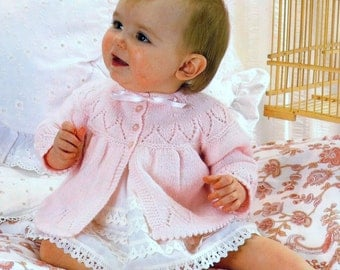 Baby 4ply Matinee Jacket for Sizes 17 to 19 inches  - PDF of Vintage Knitting patterns - Instant Download