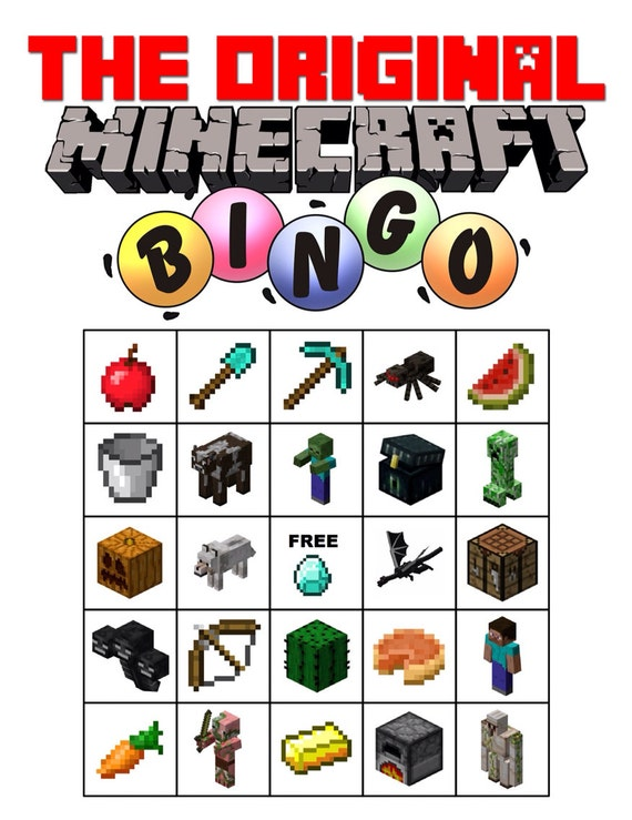 Printable Minecraft Bingo Cards Minecraft bingo game for: imgarcade.com/1/printable-minecraft-bingo-cards