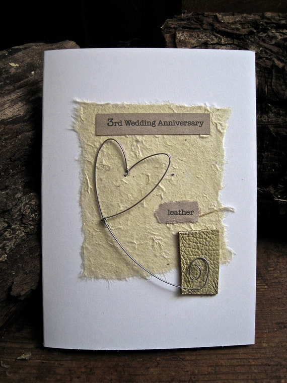 3rd wedding anniversary keepsake card leatherartbyseezal